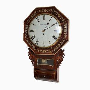 Reloj de pared antiguo de Whitehurst of Derby, década de 1820