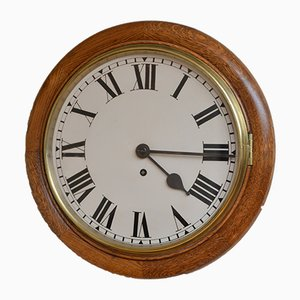 Late Victorian Oak Fusee Wall Clock