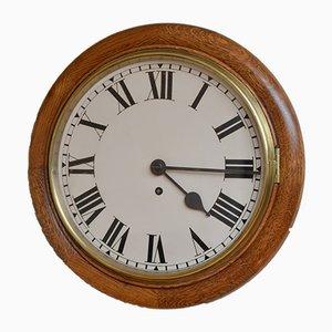 Reloj de pared Fusee victoriano tardío de roble