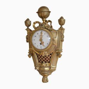 Petite Horloge Cartel Antique en Métal Doré de F. Berthoud