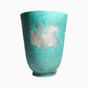Vase Vintage en Grès & en Argent par Wilhelm Kåge pour Gustavsberg
