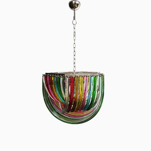Large Multicolored Murano Glass Chandelier, 1980s