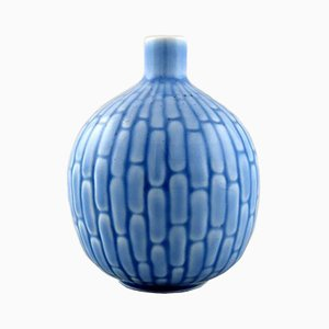Blaue Art Déco Keramikvase von Gold Weinberg für Rörstrand