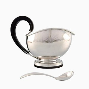 Funkis Sterling Silver Sauceboat with Spoon Set from Franz Hingelberg, 1930s