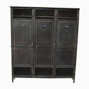 Antique Industrial Cabinet with 3 Riveted Metal Doors, 1900s