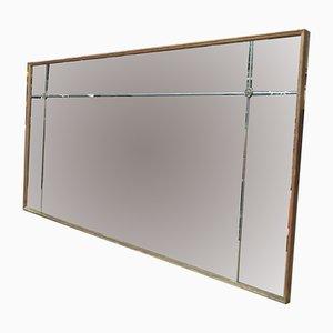 Espejo francés grande de madera dorada y vidrio eglomise, años 70