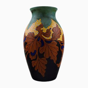 Art Nouveau Hand Painted Vase by Gouda, 1920s