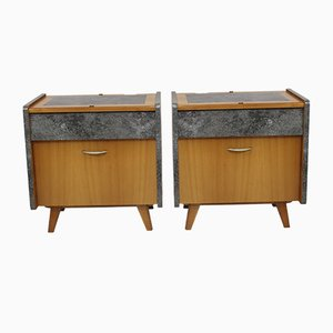 Mid-Century Wood Nightstands, 1950s, Set of 2