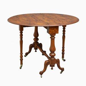 Mesa de comedor plegable Sutherland victoriana antigua de madera nudosa de nogal