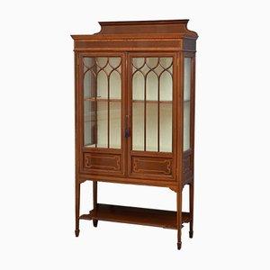 Antique Edwardian Mahogany Inlaid Display Cabinet