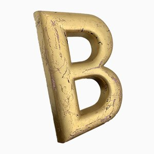 Vintage Industrial English Gold Painted Cement Letter B