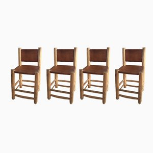 Leather & Wood Dining Chairs, 1970s, Set of 4