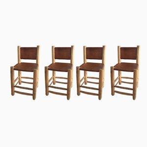 Sedie da pranzo in pelle e legno, anni '70, set di 4