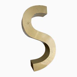 Letra S de casino francesa vintage de metal pintado de dorado, años 50