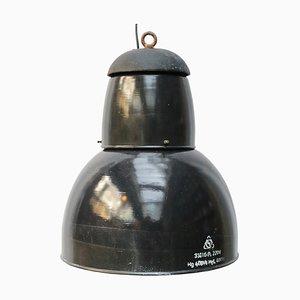 Grande Lampe à Suspension Industrielle Vintage en Émail Bleu et Fonte, 1950s