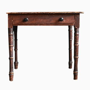 Antique Victorian Stained Pine Side Table