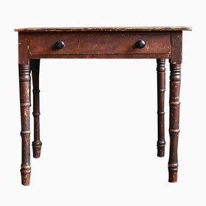 Mesa auxiliar victoriana antigua de pino teñido