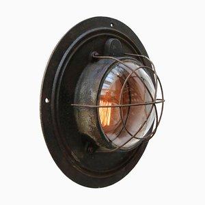 Lampe à Suspension Industrielle Vintage en Fonte & Verre Transparent, 1950s