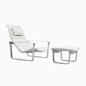 Pulkka Lounge Chair with Footstool by Ilmari Lappalainen for Asko, 1960s