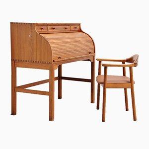 Schreibtisch mit Rolltür von Andreas Hansen für Hadsten Traeindustri, 1970er
