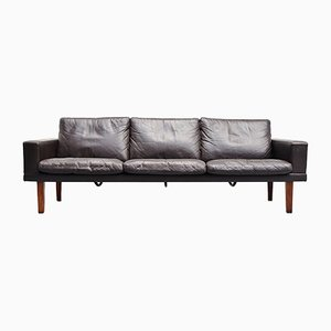 Brown Leather & Rosewood Sofa from Bovenkamp, 1960s