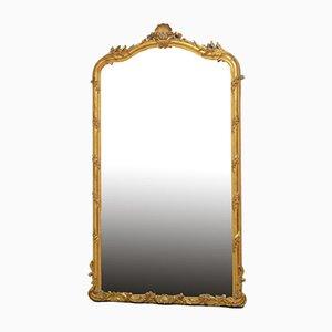 Großer antiker Spiegel mit vergoldetem Holzrahmen