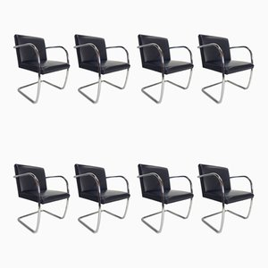 Tubular Steel Black Leather Brno Chairs by Ludwig Mies van der Rohe for Knoll, 1980, Set of 8