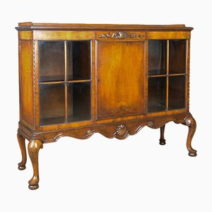 Antique Edwardian Walnut Display Cabinet from Waring and Gillows Ltd, 1910s