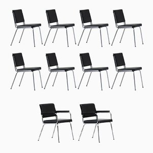 Vintage French Industrial C1960 Chairs, Set of 10