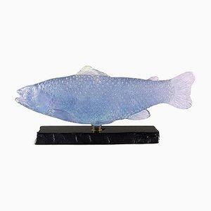 Vintage Fischfigur aus violettem Glas mit schwarzem Marmorsockel von Daum