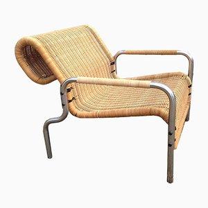 Niederländischer Vintage Armlehnstuhl aus Rattan & Chrom von Martin Visser, 1960er