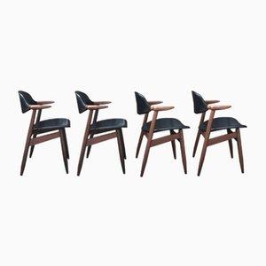 Schwarze Cowhorn Esszimmerstühle aus Leder von Tijsseling Nijkerk für Hulmefa Nieuwe Pekela, 1950er, 4er Set