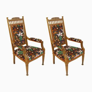 Antique Moonflower Fabric Chairs by Louis Sparre, Set of 2