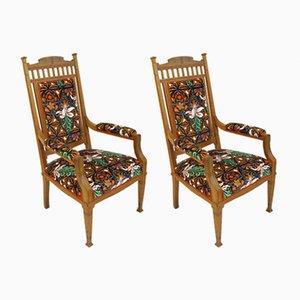 Chaises Antiques en Tissu Moonflower par Louis Sparre, Set de 2