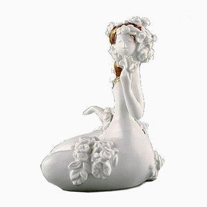 Vintage Porcelain Girl with Flowers Sculpture by Bjørn Wiinblad for Rosenthal, 1980s