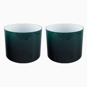Scodelle vintage in vetro opalino verde di Holmegaard, anni '60, set di 2