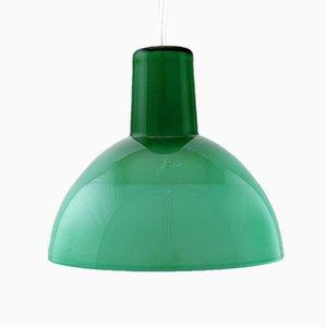 Lámpara colgante vintage de vidrio opalino verde de Holmegaard, años 60