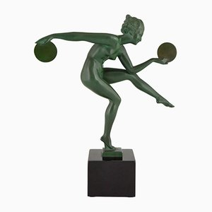 Art Deco Metal and Marble Nude Disc Dancer Sculpture by Marcel Bouraine for Max Le Verrier, 1930s