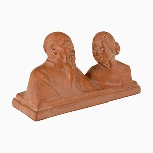 Art Deco Terracotta Chinese Couple by Gaston Hauchecorne, 1925
