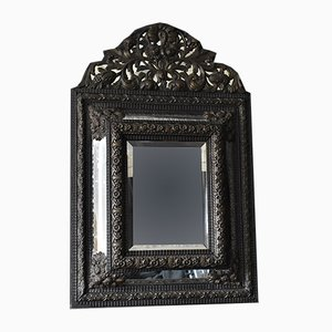 Large 19th Century Repousse Cushion Mirror