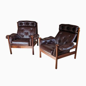 Leather Lounge Chairs by Guy Rogers, 1960s, Set of 2