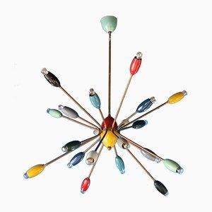 Sputnik Kronleuchter mit 20 Leuchten, 1950er