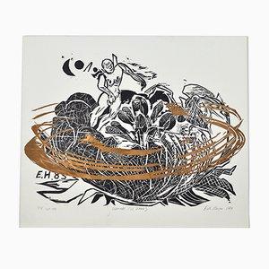 Woodcut Dreamer (W. Blake) Print by Erik Hagens, 1984