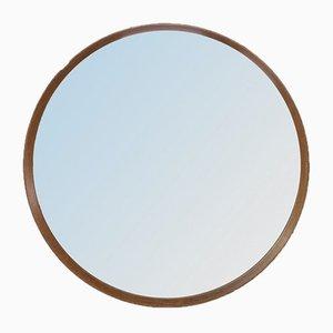 Espejo de pared vintage redondo de roble, años 70