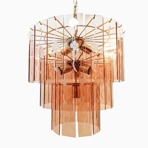 Lámpara de araña vintage de cristal y metal dorado con tres niveles