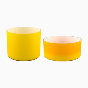 Large Yellow Opaline Glass Bowls from Kastrup / Holmegaards, 1960s, Set of 2