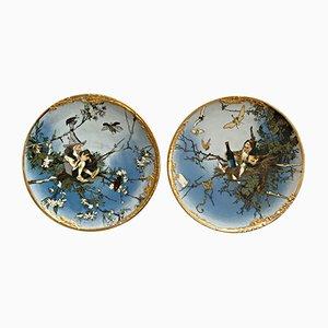 Large Antique Ceramic Dwarf Plates by Heinrich Schlitt for Villeroy & Boch, Set of 2