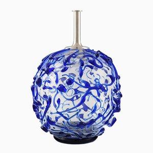 Lámpara de mesa redonda en azul de vidrio transparente de Holmegaard, años 60