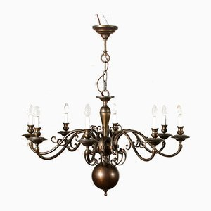Antique Italian Brass Eight Arm Chandelier