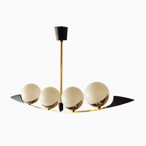 Mid-Century French Brass & Glass Ceiling Light from Arlus, 1950s